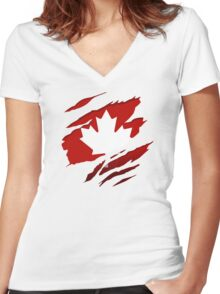 Canada Red Leaf Women's Fitted V-Neck T-Shirt