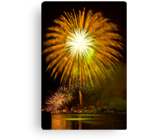 Single Sunflower Supernova - Sydney Harbour - New Years Eve - Midnight Fireworks  Canvas Print