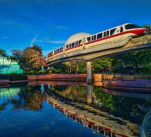 Monorail Red: Reflected at Epcot by jjacobs2286
