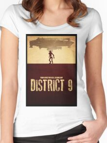 DISTRICT 9 - Minimal Silhouette Design Women's Fitted Scoop T-Shirt