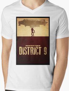 DISTRICT 9 - Minimal Silhouette Design Mens V-Neck T-Shirt