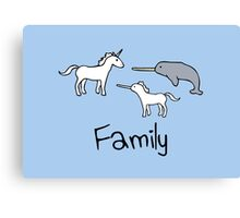 Family - Unicorn, Narwhal, Narwhalicorn Canvas Print