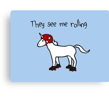They See Me Rolling - Roller Derby Unicorn Canvas Print
