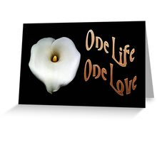 "Calla Lily Isolated on Black ""One Life, One Love"" Greeting Greeting Card"