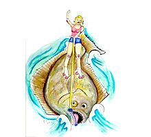 Alice Surfing on a Halibut Photographic Print