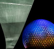 Night at Epcot - Spaceship Earth by jjacobs2286