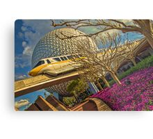 Monorail Passing in front of Spaceship Earth at Epcot Metal Print