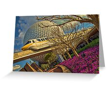Monorail Passing in front of Spaceship Earth at Epcot Greeting Card