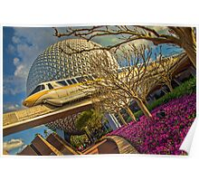 Monorail Passing in front of Spaceship Earth at Epcot Poster