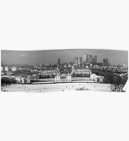 Snow Bound Greenwich Mean Time B/W Poster