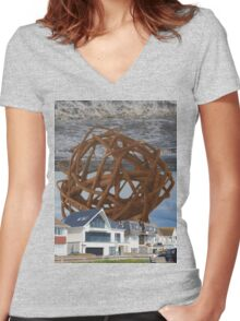 The Globe. Women's Fitted V-Neck T-Shirt