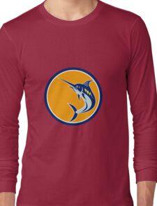 Blue Marlin Fish Jumping Circle Retro Long Sleeve T-Shirt