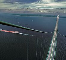 The Mackinac Bridge and Lake Boat from The South Tower by Robert deJonge