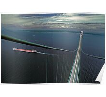The Mackinac Bridge and Lake Boat from The South Tower Poster