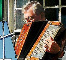 Man Playing Accordion by Susan Savad