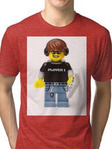 Player 1 Gamer Kid Minifig Tri-blend T-Shirt