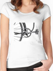 Old Bicycle Pedal Sprocket and Chain Women's Fitted Scoop T-Shirt