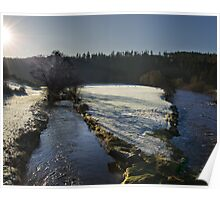 Frosty Morning landscape of the River Nore, Inistioge, County Kilkenny, Ireland Poster
