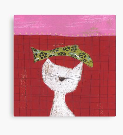 Cat with fish on head Canvas Print
