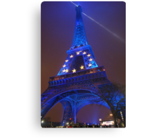 The Eiffel Tower in Blue, Paris, France  Canvas Print