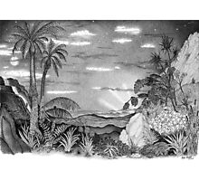 Landscape of New Zealand Drawing Photographic Print