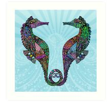 Electric Psychedelic Seahorses Art Print