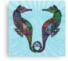 Electric Psychedelic Seahorses Canvas Print