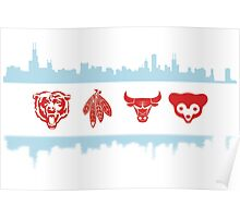 Chicago Flag with Teams and Skyline Poster