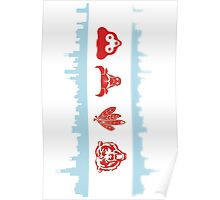 Chicago Flag with Teams Vertical Poster