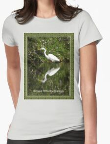 Great White Heron Hunting at Homosassa Springs Womens Fitted T-Shirt