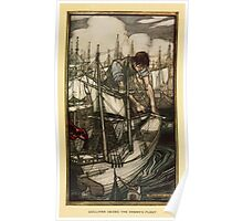 Gulliver's Travels by Jonathan Swift art Arthur Rackham 1899 0065 Gulliver Seizes the Enemy's Fleet Poster