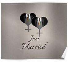 Just Married Tuxedo Hearts Tie Poster