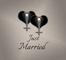 Just Married Tuxedo Hearts Bow Tie by LiveLoudGraphic