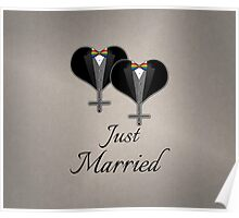 Just Married Tuxedo Hearts Bow Tie Poster