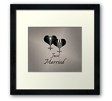 Just Married Tuxedo Hearts Tie and Bow Tie Framed Print