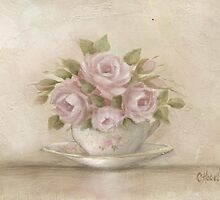 Shabby Chic Cup And Saucer Roses by Chris Hobel