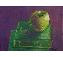 Apple and Books (pastel) Photographic Print