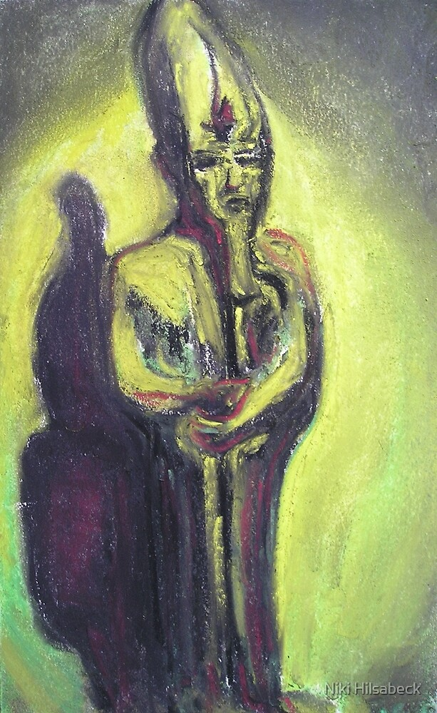 Waiting (Pastel of Egyptian Figurine) by Niki Hilsabeck