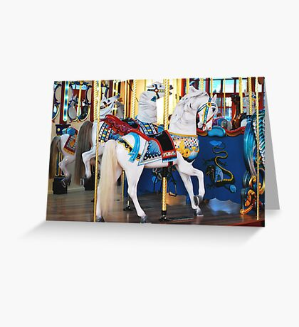 Silver Beach Carousal Greeting Card