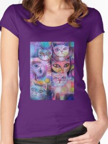 Mother cat and kittens II Women's Fitted Scoop T-Shirt