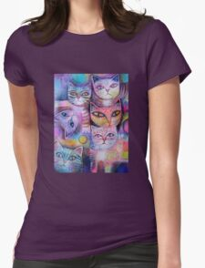 Mother cat and kittens II Womens Fitted T-Shirt