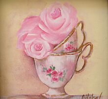Two cup tea time roses by Chris Hobel