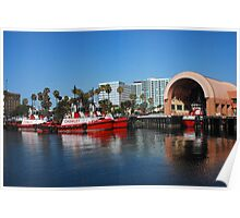 Red Work Boats Poster