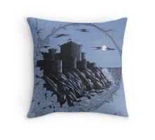 Medieval Castle in Blue Throw Pillow