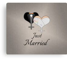 Just Married Dress and Tux Hearts Bow Tie Canvas Print