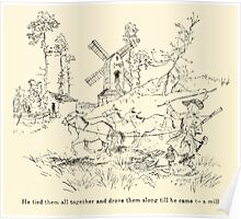 Snowdrop & Other Tales by Jacob Grimm art Arthur Rackham 1920 0190 To the Mill Poster