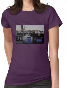 Blue Barrels at the Marina Womens Fitted T-Shirt