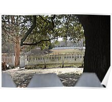 Dreamy Scene Behind White-Picket-Fence Poster