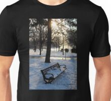 A Wintry Bench at Niagara Falls Unisex T-Shirt