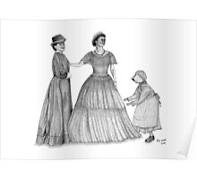 Old Fashioned Ladies Drawing Poster